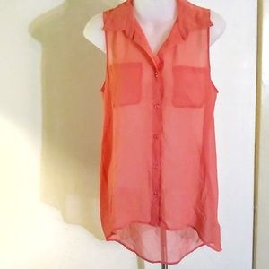 Forever 21 Sheer Pink High Low Flowy Top